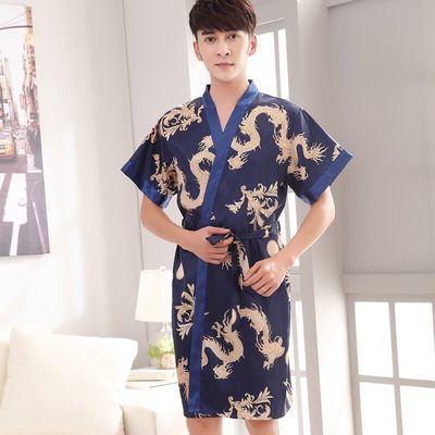 冰丝睡袍男夏季短袖薄款丝绸浴衣浴袍男士长款性感睡衣男装家居服