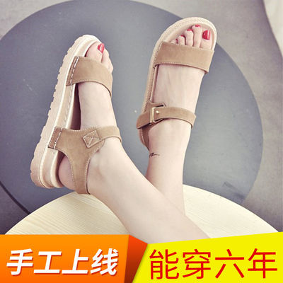 2020夏季新款韩版罗马凉鞋女鞋简约百搭平底复古学生魔术贴沙滩鞋