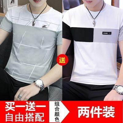 2件装男士短袖男t恤男装夏春秋季潮流纯色打底衫ins潮流半袖体��