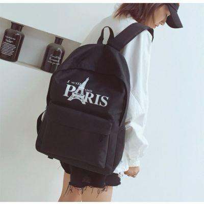 韩版帆布男士休闲充电印花背包双肩包女初高中学生书包男时尚潮流