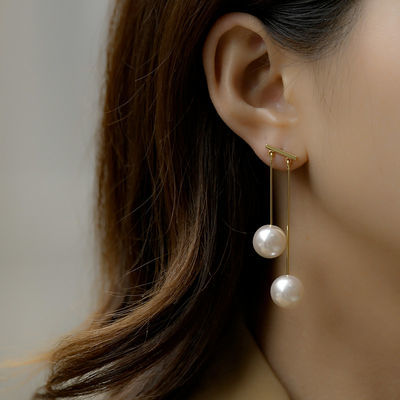 乐紫珍珠耳钉女气质韩国江疏影同款明星时尚流苏珍珠耳钉长款耳坠