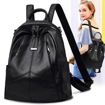 双肩包女2020新款潮韩版百搭时尚旅行包pu软皮女士包包书包背包女