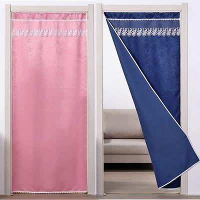 布艺门帘遮光隔断帘家用空调卧室卫生间厨房试衣间免打孔窗帘装饰