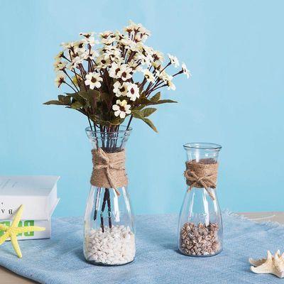 DIY创意复古麻绳玻璃花瓶摆件透明清新干花客厅装饰插花 小欧式