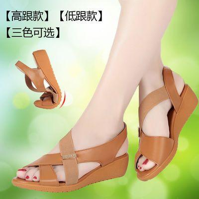 真皮女凉鞋平底夏季鱼嘴凉鞋软底中跟女鞋中年妈妈凉鞋低跟大码