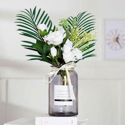 北欧家居客厅餐桌仿真花假花套装彩色透明玻璃插花瓶现代花艺摆件