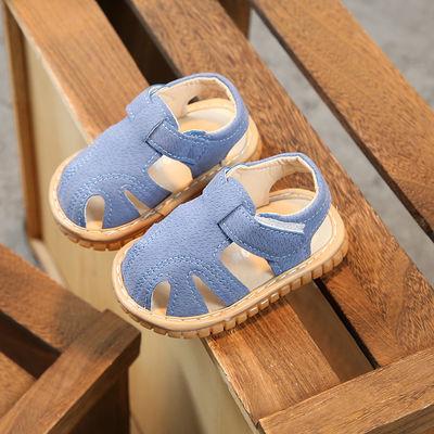 宝宝鞋子夏天儿童夏季凉鞋布男叫叫鞋一岁学步鞋软底防滑2-3岁