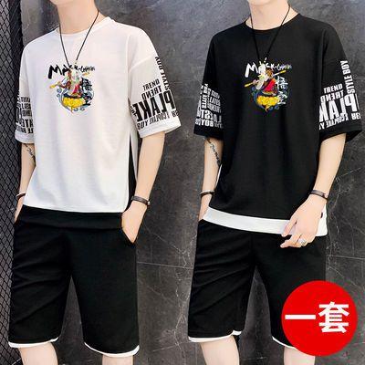 男士休闲运动套装2012夏季潮流短袖学生日系青少年学生一套衣服男