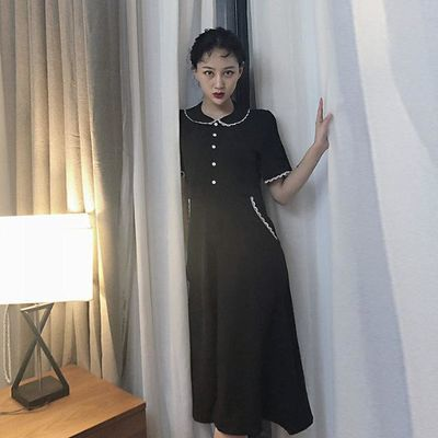 大码女装夏季新款心机小黑裙长裙胖mm遮肚法式复古赫本风连衣裙女