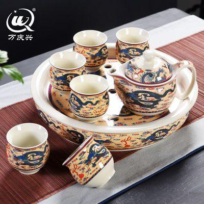 茶具套装整套家用双层隔热茶壶茶杯陶瓷功夫茶具带茶盘