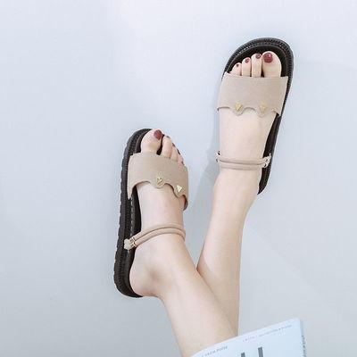 夏季新款女拖鞋韩版时尚百搭平底外穿一字拖鞋女学生两穿凉拖鞋潮