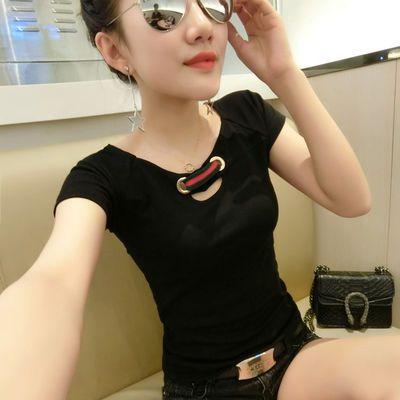 【含棉量高T恤】韩范夏装新款纯棉性感短袖女T恤修身显瘦半袖上衣