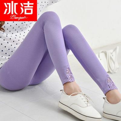 冰洁打底裤薄款女92%棉春季蕾丝边九分裤外穿弹力显瘦紧身小脚裤