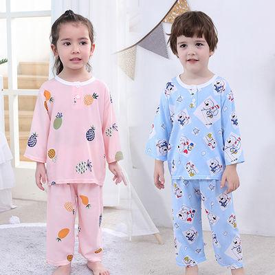 儿童睡衣服套装夏季棉绸婴儿宝宝家居服男童女童装小孩男孩小女孩