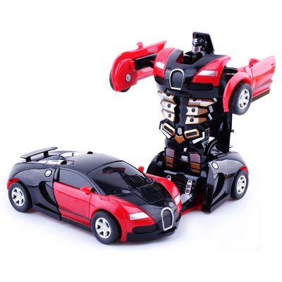 变形玩具金刚5 儿童男孩大黄蜂一键惯性撞击PK小汽车机器人玩具车