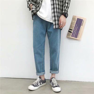夏季男士直筒牛仔裤男宽松阔腿裤韩版潮流百搭裤子男生休闲九分裤