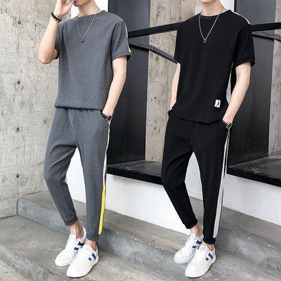 夏季短袖t恤套装男韩版潮两件套青少年男士休闲运动套装九分裤男