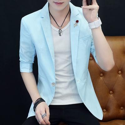 夏季小西服男青年薄款中袖西装男青少年韩版修身七分袖西服外套男