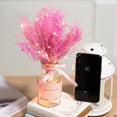 ins风满天星情人草网红花束干花永生花带花瓶摆件办公室客厅摆设
