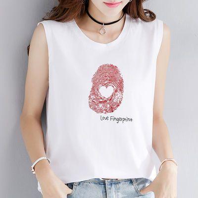 95棉2020夏季新款无袖T恤背心女宽松休闲百搭韩版简约上衣打底衫