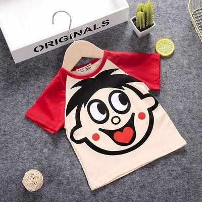 夏季童装男宝宝短袖T恤韩版儿童纯棉半袖上衣小童旺旺队衣服印