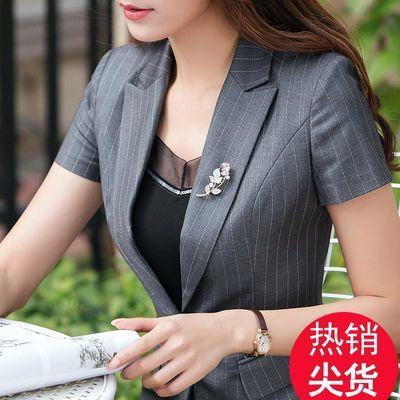 夏季修身条纹西装职业装女装套装气质正装短袖套裙工作服西服工装
