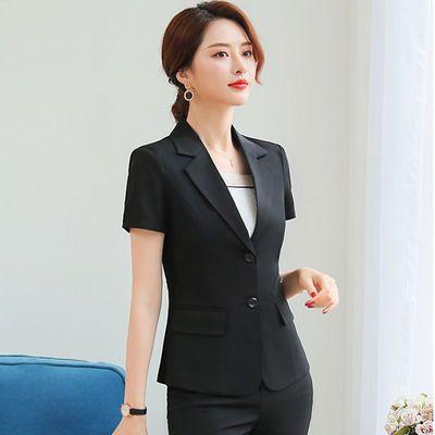 职业套裙女短袖西装套装2019夏季修身西服女士工作服面试装两件套
