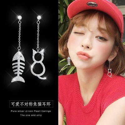 925纯银针耳坠女气质韩国简约百搭猫咪鱼流苏长款耳环防过敏耳饰