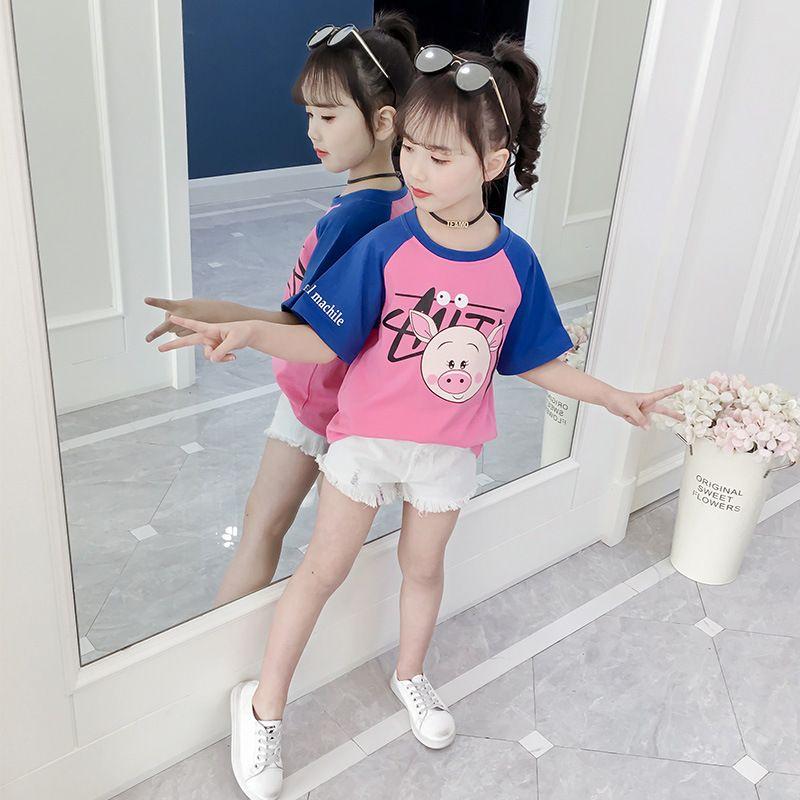女童T恤夏装2019新款女大童半袖潮童装洋气韩版儿童短袖纯棉上衣