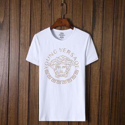 时尚圆领短袖上衣夏季新款韩版社会男士烫钻短袖T恤欧美大码男装