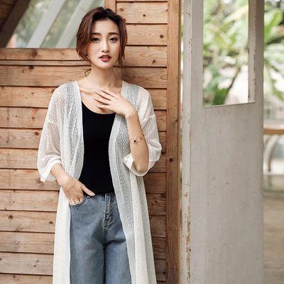 冰丝女2020新款夏季中长款女针织衫搭披肩外套薄款防晒衣空调开衫