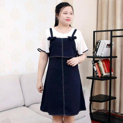 加肥大码女装2020夏装新款胖mm宽松喇叭袖拼接显瘦两件套装连衣裙