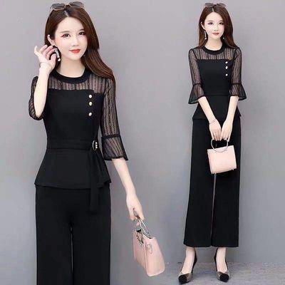 黑色网纱七分袖时尚套装2019新款春夏两件套阔腿裤气质洋气收腰女