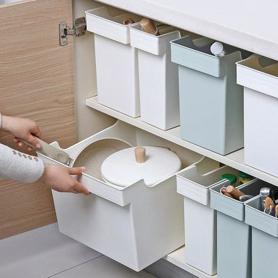 带滑轮厨房锅盖架储物盒家用塑料锅具收纳盒储物收纳架厨柜收纳筐