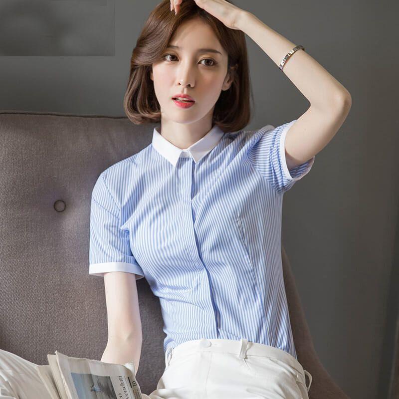 短袖衬衣女2019新款修身显瘦收腰百搭工装工作服设计感小众衬衣女