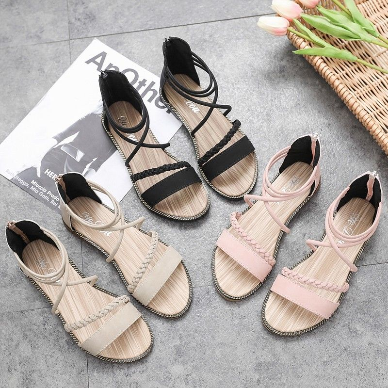 Buy Sandals Flat Bottom 2019 New Summer Net Red Student with