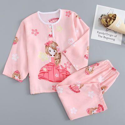 夏季棉绸儿童睡衣套装男孩女童绵绸宝宝小孩长袖长裤家居空调服薄