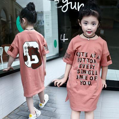 儿童短袖女童夏装t恤2020新款中大童小学生中长款字母打底衫洋气