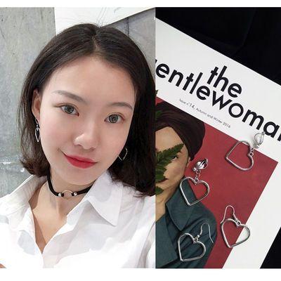 桃心无耳洞耳夹女学生韩版个性爱心耳环长款气质网红百搭简约