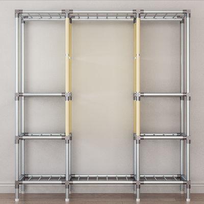 钢管接头加粗加固全钢架钢管挂衣柜新款大号单双人拉链简易布衣柜