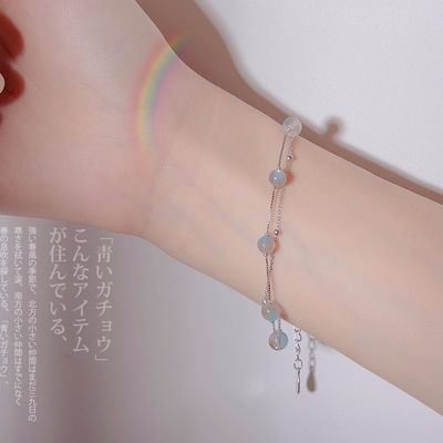 月光石月光森林手链女纯银冷淡风学生简约森系韩版手饰闺蜜礼物女