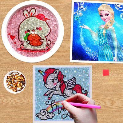 儿童钻石画带框手工diy点贴画益智卡通满钻幼儿园学生粘砖十字绣