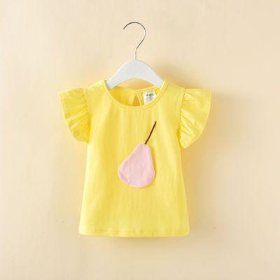 纯棉宝宝短袖t恤夏季上衣女童体恤半袖夏装1-3-7岁儿童可穿95棉%