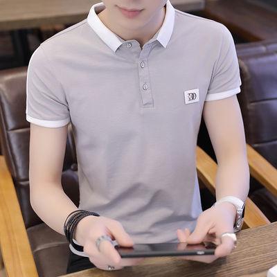 男士短袖t恤夏季小翻领POLO衫修身韩版潮流丅男装衬衫领有领体桖