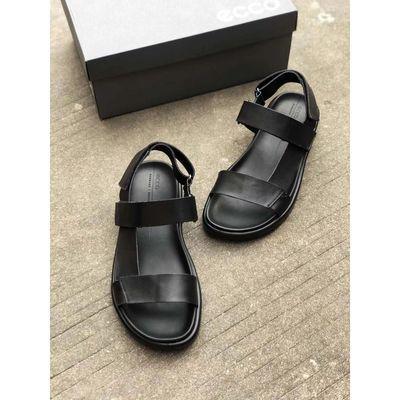 新款夏季ECCO爱步男士松糕鞋子男潮鞋简约皮凉鞋男真皮酷型27181