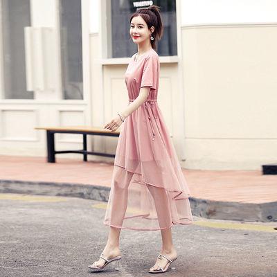 沫晗依美2019年夏新品時尚氣質韓版拼接性感網紗收腰顯瘦連衣裙