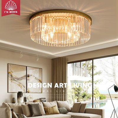 铜水晶灯具客厅灯圆餐厅卧室书房过道装饰吸顶吊灯送节能亮LED灯