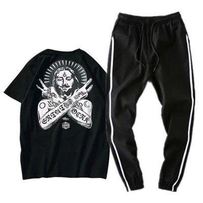 男士短袖运动套装2019新款休闲韩版潮流一套衣服帅气夏季T恤男装