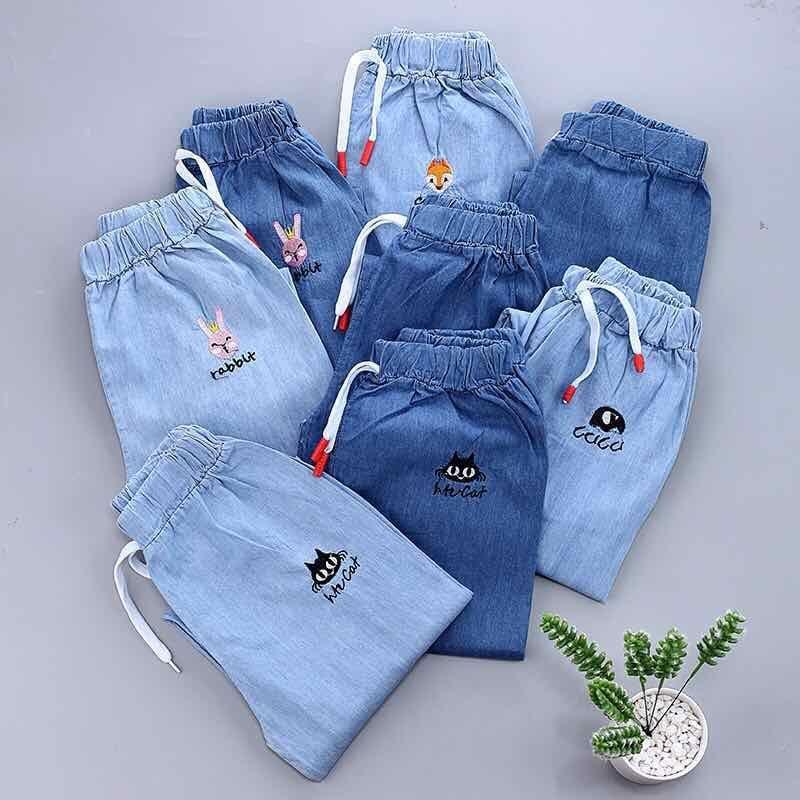 2021春装新款儿童裤子女童春款夏款薄款夏季防蚊裤男童牛仔宽松