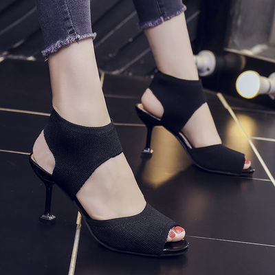 欧美鱼嘴鞋露趾凉鞋女2020夏季新款细跟针织松紧弹力罗马高跟凉靴